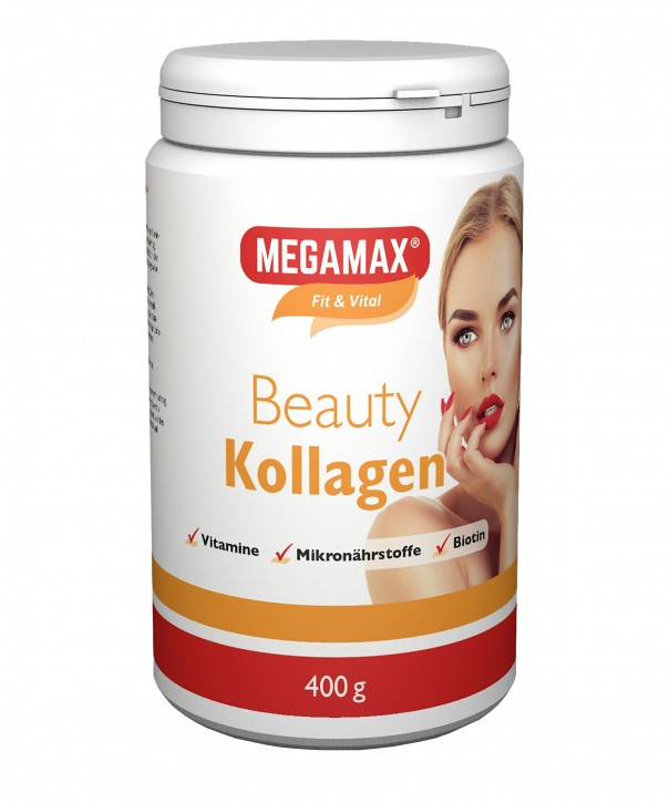 MEGAMAX BEAUTY Kollagen Pulver Collagen Plus L-Cystein, Mangan, Calcium
