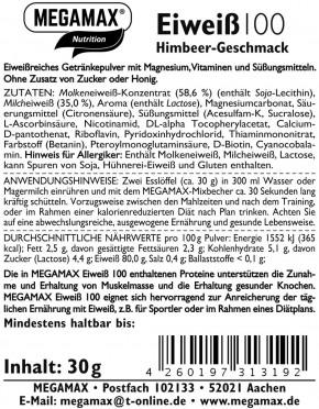 MEGAMAX Protein 100 Himbeer 30 g